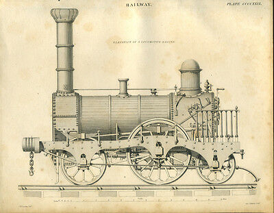 Antique print EARLY STEAM RAILWAY ENGINE copper plate engraving 1842  Locomotive