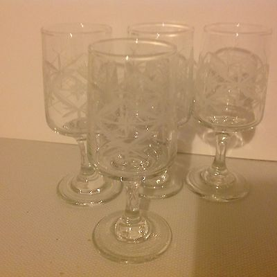 4 Beautifully Etched Glasses, Lovely