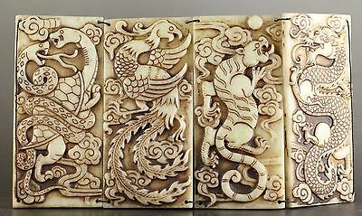 Chinese old jade hand-carved four ancient animals folding screen