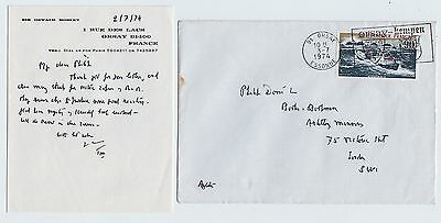 SIR OSWALD MOSLEY, Autograph Letter Signed, with envelope 1974