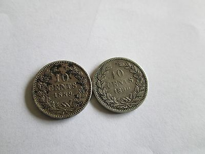 Netherlands 1889 and 1890 10 cents silver coins