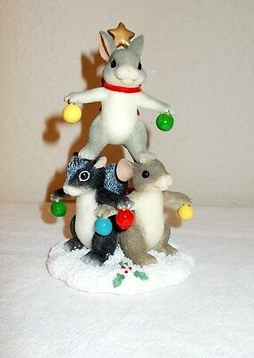 Fitz & Floyd Charming Tails Christmas Tree Trio Collectible