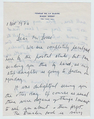 DIANA MOSLEY, Autograph Letter Signed about book reviewing, Orsay 1974