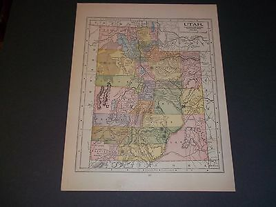 1891 UTAH  Antique color state map original authentic