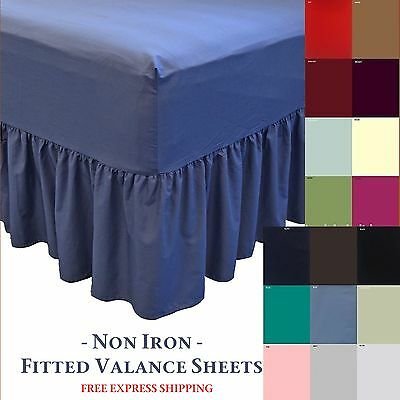 Plain Dyed Fitted Valance Sheet Poly Cotton Single Double & King Size Bed Sheets