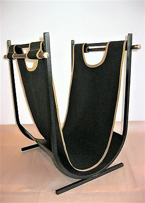 """Vintage Midcentury Black Wrought Iron Log Holder & Carrier 20"""" tall 13"""" x 15"""""""