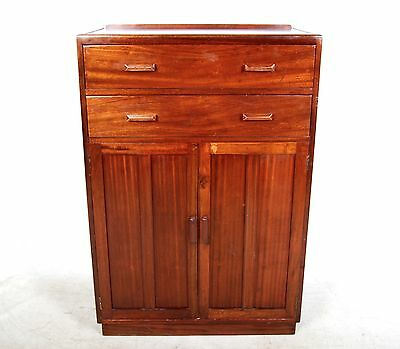 Vintage Art Deco Oak Mahogany Cabinet Millinery Office Cupboard Linen Chest 1930
