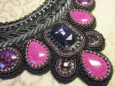 Handmade beaded necklace and bracelet with crystals