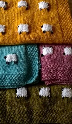 Gorgeous Handmade Hand knitted Baby Sheep Blanket