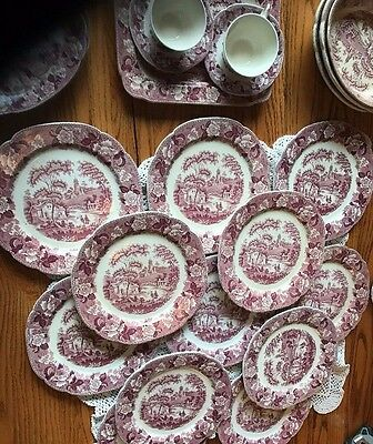 """12 Red Pink Transferware Corona Ware 10"""" Dinner Plate G H & Co. """"Old English"""""""