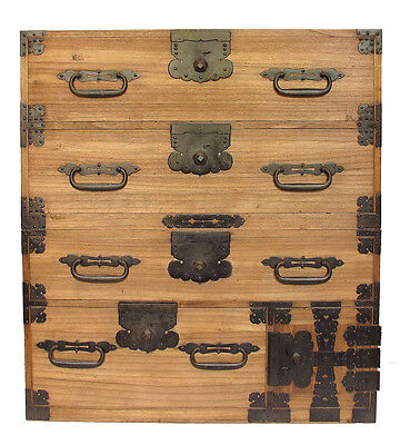 Antique Japanese Isho Tansu Clothing Chest Furniture with Secret Compartment