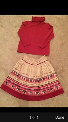 Girls Monsoon 2 Piece Skirt & Roll Neck Age 6-8 Perfect For Christmas