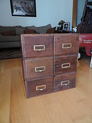 Antique Wood Stacking File Cabinet 6 Drawer for Postcards Photos Documents