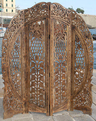 Paravent 4 Panel Indian Hand Carved Wooden Screen Room Divider Free P & P  R