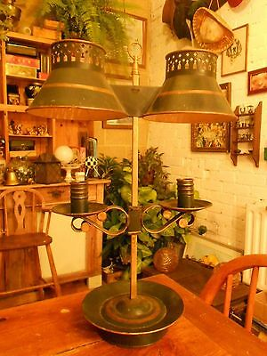 Early Tole Double Bouillotte Candle Lamp
