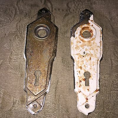 VTG Antique Pair Of Stamped  Metal Art Noveau Door Knob Backplates