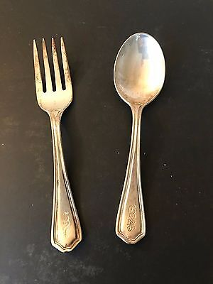 "Set of 2 Antique Sterling Silver Baby Spoon & Fork  ""Reed & Barton""  1907 #2"