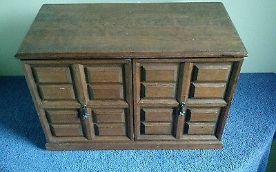 Large Vintage  Wooden Jewelry Box Filled With Costume Jewelry