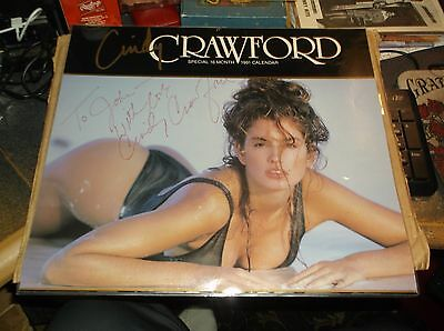 CINDY CRAWFORD SIGNED 13.5 X 15  PHOTO CALENDAR Poster SHEET LAMINTED