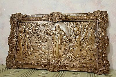 Icon Seven day Creation God Adam Eve 3D Art Orthodox Wooden Carved Picture. 23""