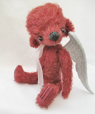 *holly Berry * A Cute Larger 8 Inch  Mohair  Bear With Large Silver Angel Wings*