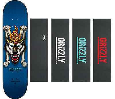 Powell Peralta Skateboard Deck Kilian Martin Wolf Blue 8.0 Grizzly Grip Tape