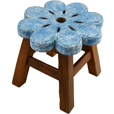 Solid Wood Child's Stool / Wooden Step -blue flower Hand Painted