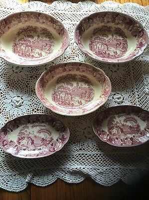 "5 Red Pink Transferware Corona Ware G H & Co. ""Old English"" Serving Bowls Dishes"