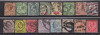 GB 1902 - 1952 King Selection 16 stamps various conditions ( F487 )