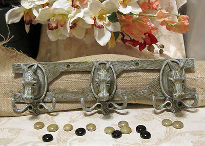 Cast Iron HORSE HORSES 6-Hook WALL HOOK COAT RACK TACK HAT RACK Sage/Gray