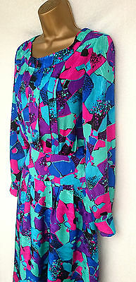 NEW WAVE 80's VINTAGE GORGEOUS PAINTED FLORAL PRINT DRESS SIZE 12/14
