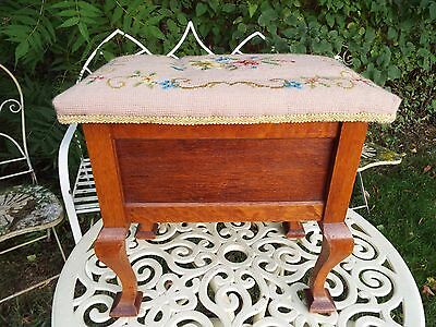 Vintage Wooden Stool Sewing Box Needlepoint Upholstered Cabriolet Legs