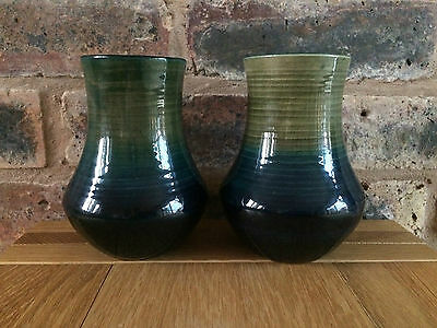 Extremely Rare 1935 William Moorcroft Ribbed Natural Matched Pair Baluster Vases