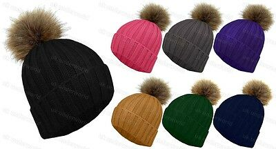 Ladies Chunky Knitted Ribbed Beanie Bobble Hat With Faux Fur Pom Pom Winter Warm