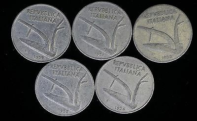 Lot of 5: Italy: 10 Lire 1951-1955