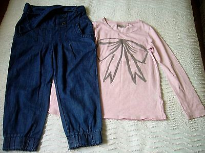 Next L/s Top Pink With Bow Detail & Denim Trousers With Belt 6 Years