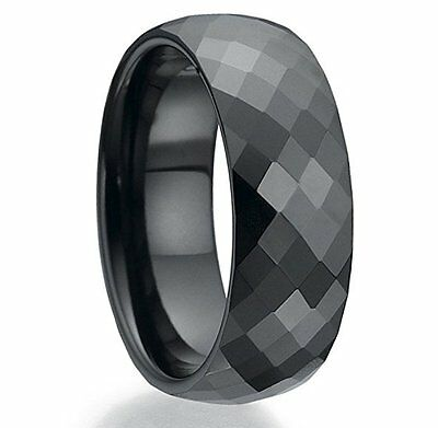 Mens Tungsten Carbide Ring Black Faceted Wedding Engagement Band 8mm