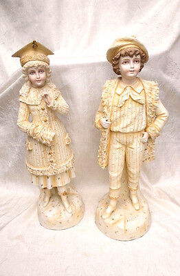 "Pair of Antique German/French Porcelain Man & Woman Figurines 20"" #3598 RW"
