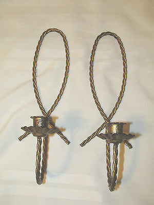 HOME INTERIORS ~ SET OF 2 TWISTED METAL WALL SCONCES Candle Holders