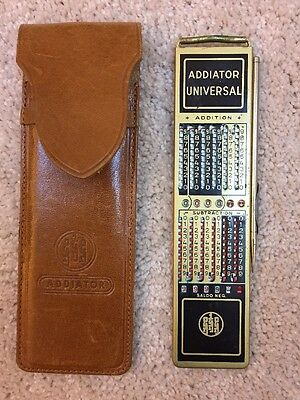 Vintage Addiator Universal Calculator stylus & leather case West Germany