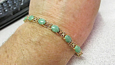 Beautiful Estate Green Jadeite Jade Bracelet 14k Gold 7.25 Inches  Make Offer