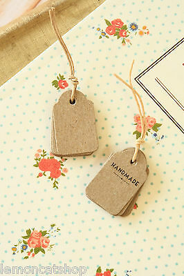 East of India Mini Shop Labels 10pc Kraft Brown small craft DIY jewelry tags