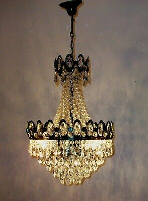 Ceiling Pendant Fixture Light French Green Vintage Old Crystal Chandelier 80s
