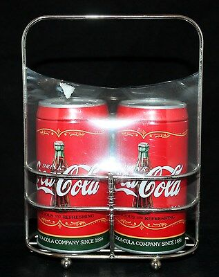 Tin Can Shaped Coca-Cola Coca Cola Salt Pepper Shakers Handle Tray Diner 50s NEW