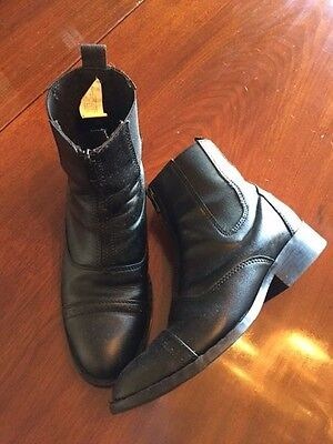 Smoky Mountain Paddock Boots Front Zip Black Sz 6 1/2 M