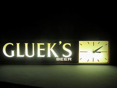 "Rare 1963 Cadco Gluek's Beer Lighted Advertising Clock Sign 28.5"" L  WORKS"