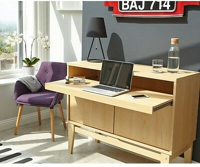 Storage Pc Table Wooden Side Cabinet Writing Bureau Unit Traditional Office Desk