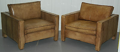 Rrp £2600 Pair Of Vintage Hand Made In Italy Designer Club Armchairs Aged Patina