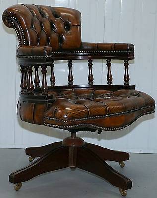 Fully Restored Chesterfield Stamped 1967 Cigar Brown Leather Captains Chair