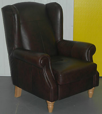 One Of Two New Brown Leather Queen Anne Wingback Armchairs Lovely Pieces